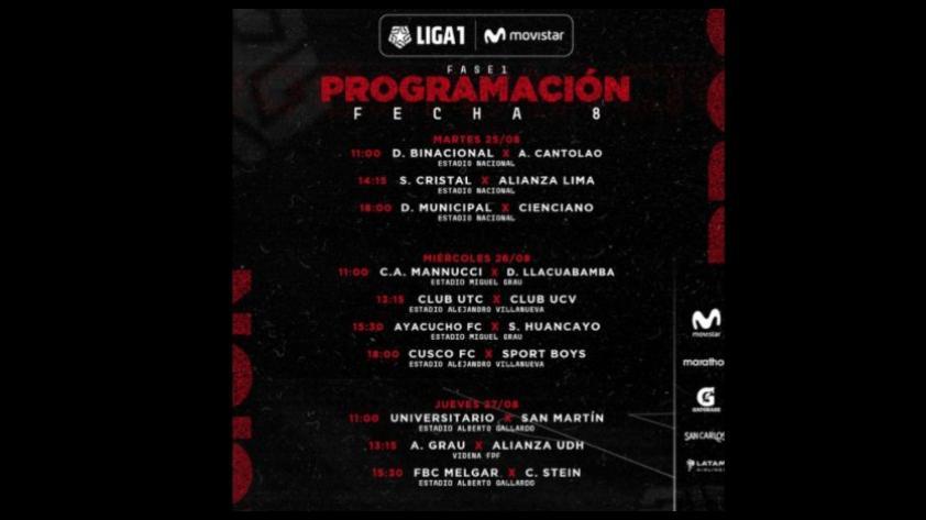 Liga 1 Movistar: programación de la jornada 8 del Torneo Apertura