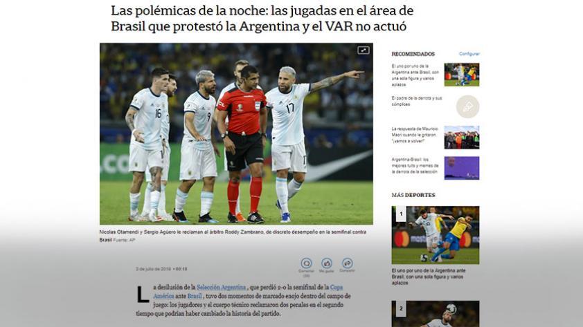 Con el VAR como protagonista: así informó prensa argentina sobre la eliminación de la Copa América (FOTOS)