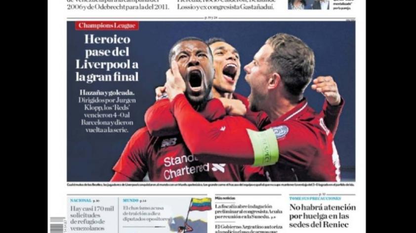 """""""El mayor ridículo de la historia"""" y """"Para el culé"""": La gesta del Liverpool retratada en las portadas de los diarios al rededor del mundo (FOTOS)"""