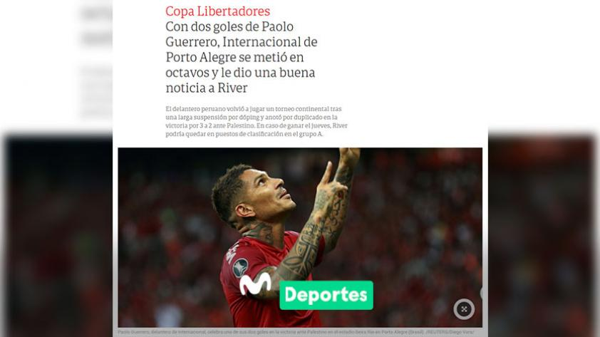El '9' de América: así informó la prensa internacional el doblete de Paolo Guerrero con el Inter en la Copa Libertadores (FOTOS)